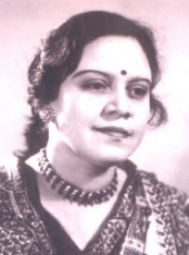 Nirmala Gogate while playing a role on Marathi stage